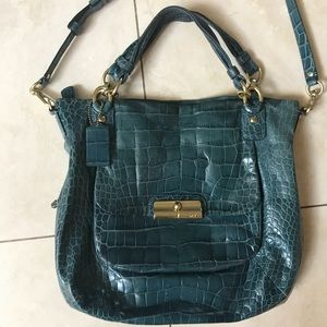 Coach Madison croc embossed expandable satchel